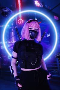 1242x2688 Cyber Genetic Girl 4k