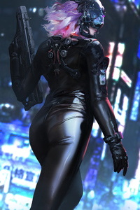 1440x2960 Cyber Girl Latex Suit With Gun 4k