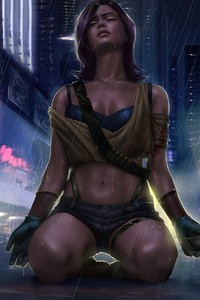 1440x2960 Cyber Girl Rain City 4k