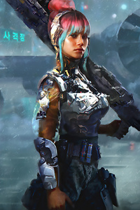 2160x3840 Cyber Girl With Big Gun