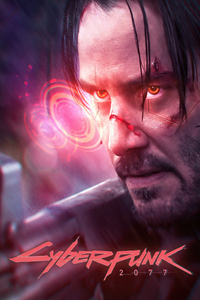 1125x2436 Cyber Keanu Reeves Cyberpunk 2077 4k