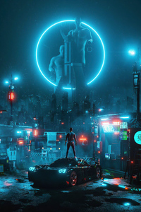 480x800 Cyber Night Boy Standing On Car 4k