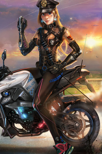 Cyber Police Girl On Bike 4k