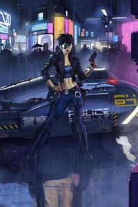 320x568 Cyber Police Girl With Gun 4k