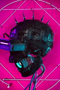 320x480 Cyber Skull 4k