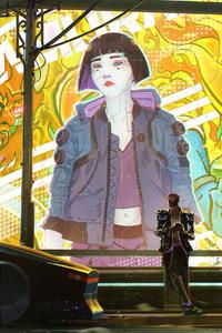 540x960 Cyberpunk 2077 Bus Stop 4k