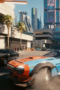 640x960 Cyberpunk 2077 Cars Drifting