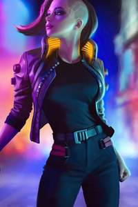 750x1334 Cyberpunk 2077 Girl In City 4k