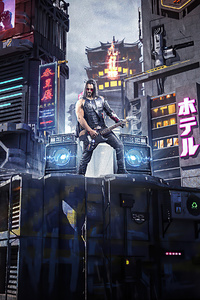 800x1280 Cyberpunk 2077 Johnny Silverhand Playing Guitar
