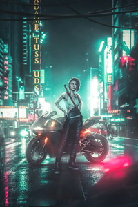 1440x2960 Cyberpunk 2077 Night City Girl 5k