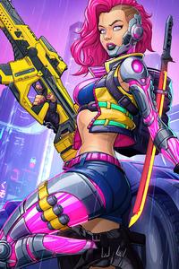 320x480 Cyberpunk 2077 Pinup Girl 5k