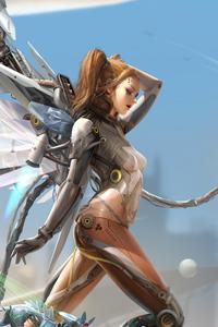 480x800 Cyberpunk Angel Goddess 4k