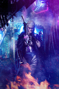Cyberpunk Assassin Girl 4k