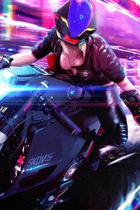 Cyberpunk Bike Girl