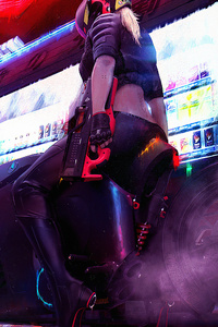 Cyberpunk Bike Girl Rear