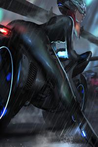 Cyberpunk Bike Girl Robot