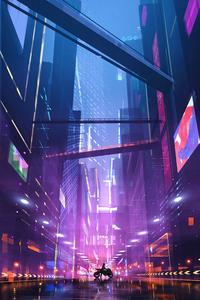 Cyberpunk Biker Girl Scifi City 4k