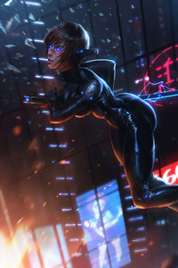 1280x2120 Cyberpunk Black Girl