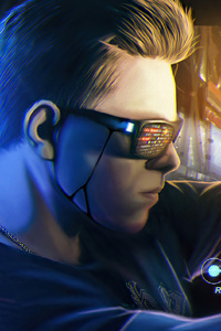 1125x2436 Cyberpunk Boy Car Rider 4k