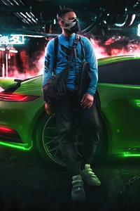 1080x2280 Cyberpunk Boy Mask With Porsche 5k