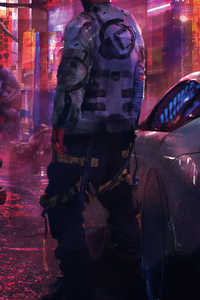 Cyberpunk Boy With Car