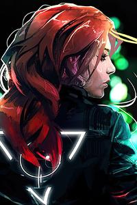 Cyberpunk Brown Hair Girl 4k