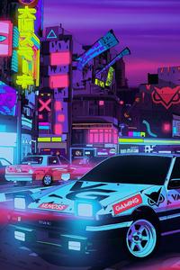 Cyberpunk Car Neon City Run 4k