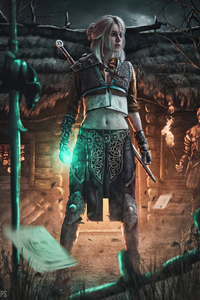 1125x2436 Cyberpunk Ciri The Witcher 3 4k