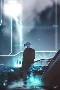 Cyberpunk City And Car Guy 4k