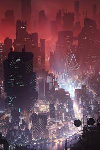 Cyberpunk City Night View 4k