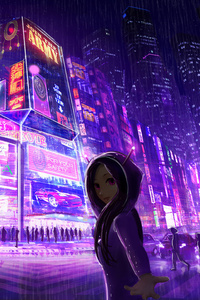 Cyberpunk Cityscape Girl Digital Art