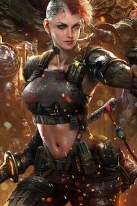 Cyberpunk Futuristic Girl With Gun And Sword 4k