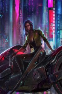 2160x3840 Cyberpunk Girl Biker 4k 2020