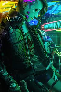 2160x3840 Cyberpunk Girl Biker New 2020