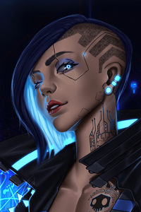 Cyberpunk Girl Blue 4k