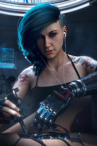 480x854 Cyberpunk Girl Fixing Problem