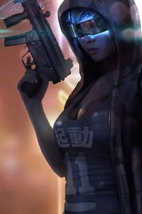 Cyberpunk Girl Gun 4k