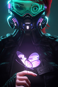 1440x2560 Cyberpunk Girl In A Gas Mask Looking At The Glowing Butterfly Landed On Her Finger 4k