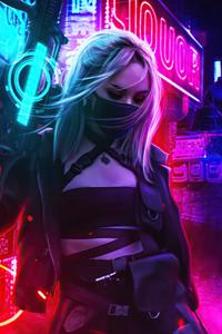 Cyberpunk Girl In Neon Mode 5k
