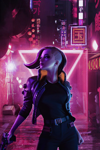 480x800 Cyberpunk Girl On Streets 4k