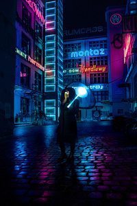 1280x2120 Cyberpunk Girl Umbrella 4k