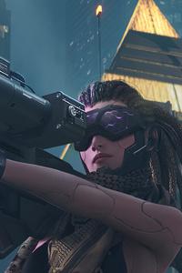 480x854 Cyberpunk Girl With Big Gun
