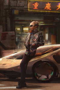 Cyberpunk Girl With Car