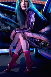 1280x2120 Cyberpunk Girl With Car4k