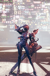 Cyberpunk Girl With Gaint Gun