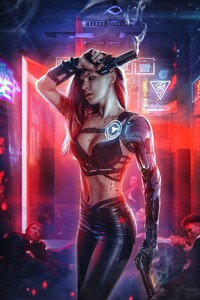 750x1334 Cyberpunk Girl With Gun 4k