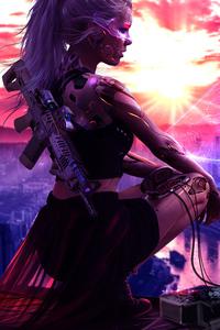 Cyberpunk Girl With Gun 4k Artwork