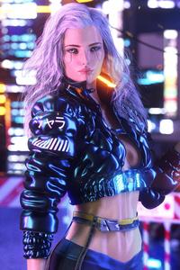 Cyberpunk Girl With Gun Artwork
