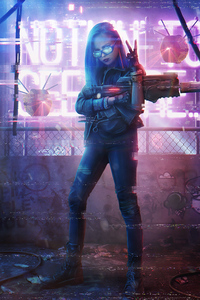 720x1280 Cyberpunk Girl With Gun Neon 4k