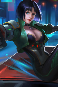 Cyberpunk Girl With Guns 4k